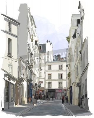 Poster Vektor-Illustration einer Straße nahe Montmartre in Paris