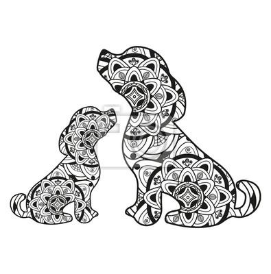 Vektor-illustration eines hundes mit ihrem welpen mandala für ...