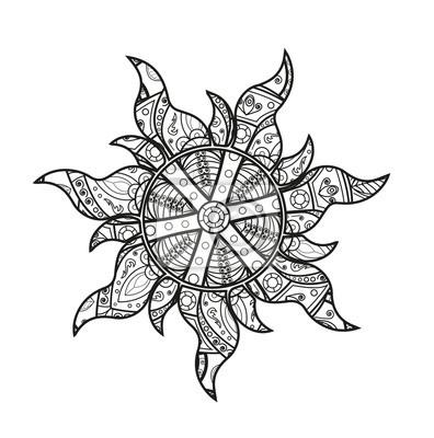 Vektor Illustration Eines Schwarz Weiss Mandala Sonne Zum Ausmalen