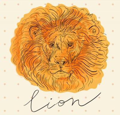 Poster Vektor-Illustration mit Löwenkopf