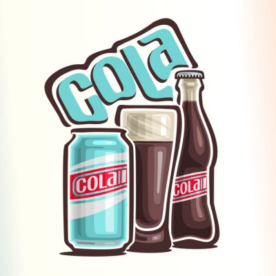 Poster Vektor-Illustration über das Thema des Logos für Cola, bestehend aus Dose mit Cola, Glas Tasse mit Cola und geschlossenen Glasflasche Cola gefüllt