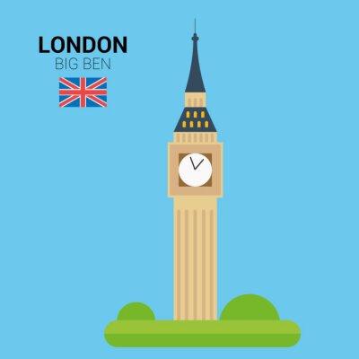 Poster Vektor-Illustration von Big Ben (London, Vereinigtes Königreich). Denkmäler und Sehenswürdigkeiten Sammlung. EPS 10 Datei kompatibel und bearbeitbar.