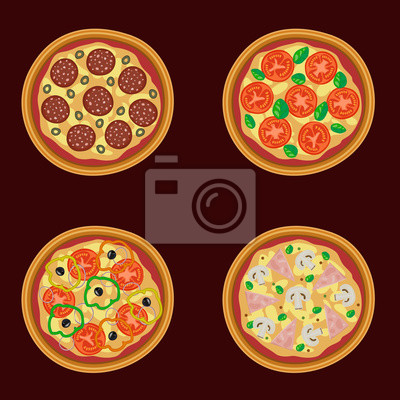 Poster Vektor-Illustration von leckeren leckere Pizza
