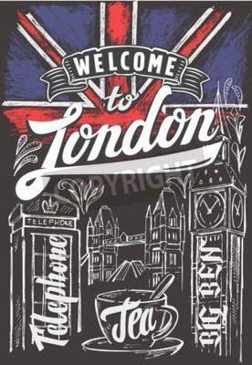 Poster Vektor kreide großbritannien flagge und london