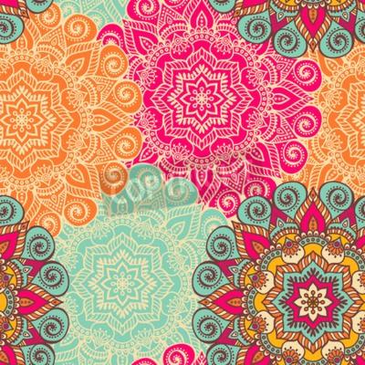 Poster Vektor-Mandala. Runde Verzierung im ethnischen Stil. Hand zeichnen