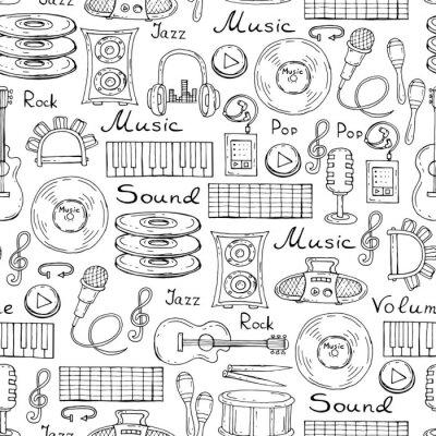 Poster Vektor-Muster mit Hand gezeichneten Symbole der Musik auf weißem Farbe