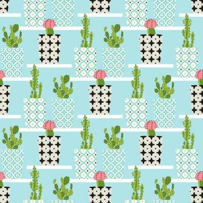 Poster Vektor-Muster mit Kakteen. Nette Kaktusblumen in den dekorativen Töpfen. Handzeichnung illustration.