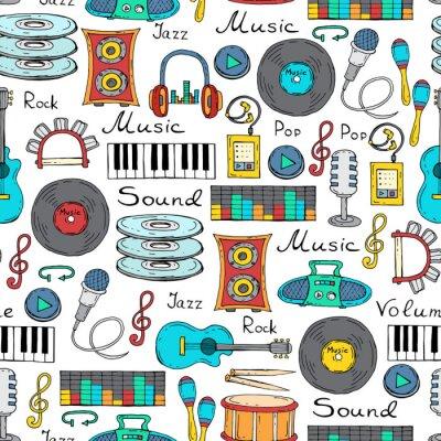 Poster Vektor nahtlose Muster mit Hand gezeichneten Symbole der Musik