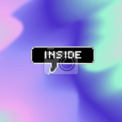 Poster Vektor-Pixel Kalligraphie Poster Karte, Inschrift Auf einem schwarzen Hintergrund mit weißen Pixel Buchstaben - innen, Text isoliert auf verschwommen, holographischen Hintergrund.