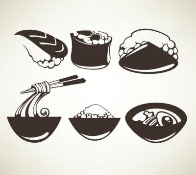 Poster Vektor-Sammlung von japanischen Lebensmittel Symbole
