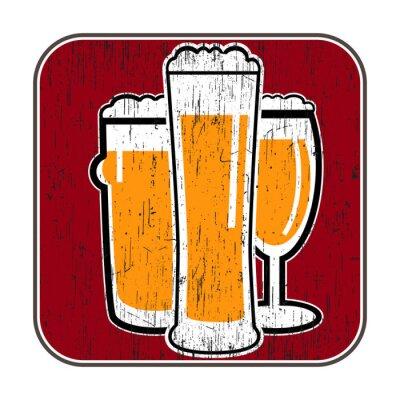 Poster Vektor-Untersetzer mit verschiedenen Biergläser mit kratz