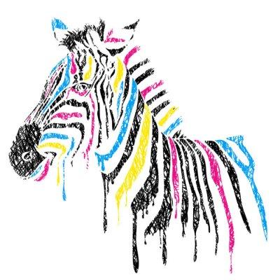 Poster Vektor Zebra mit farbigen Streifen, Skizze Stil