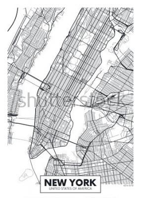 Poster Vektorplakatkartenstadt New York