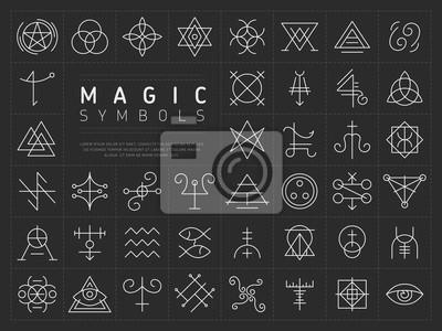 Poster Vektorsammlung verschiedener einfacher linearer weißer Symbole od magisches Handwerk auf dunkelgrauem Hintergrund