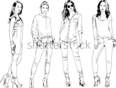 Poster Vektorzeichnungen zum Thema schöne schlanke sportliche Mädchen in Freizeitkleidung in verschiedenen Posen gemalt Tinte Handskizze ohne Hintergrund