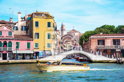Venice, Italy - June 10, 2017: boat on the canal in Venice, Italy, Europe.