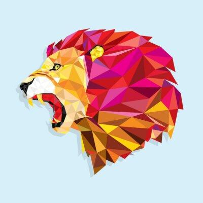 Poster Verärgerter Löwe mit geometrischen Muster- Vector illustration