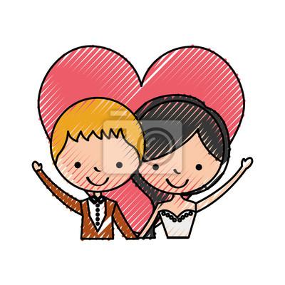 Verheiratetes Paar mit Herz Avatare Zeichen Vektor-Illustration Design