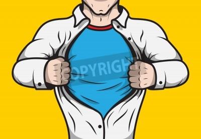 Poster Verkleidet Comic-Held erwachsenen Mann unter Dach sein Hemd Vorlage