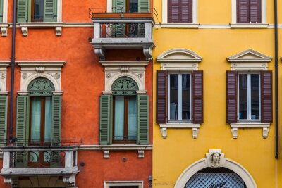 Verona, Italy, on April 24, 2019. Typical architectural details of a facade of the building in the old city.