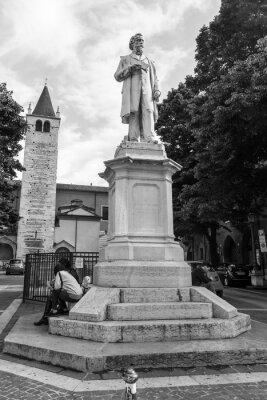 Verona, Italy, on April 27, 2019. Monument of Aleardo Aleardi,
