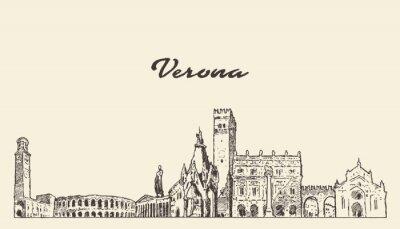 Verona skyline, Italy, hand drawn vector sketch