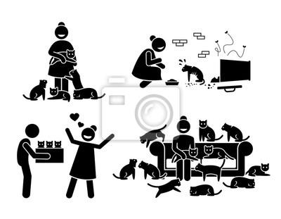 Verrückte katzen-dame strichmännchen-piktogramm-ikonen ...
