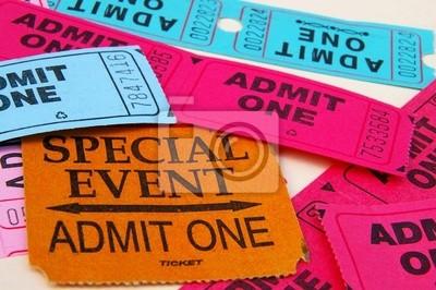 """Verschiedene """"admin ein"""" Ticket Stubs, closeup"""