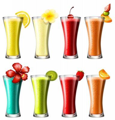 Poster Verschiedene Arten von Cocktails in Gläsern