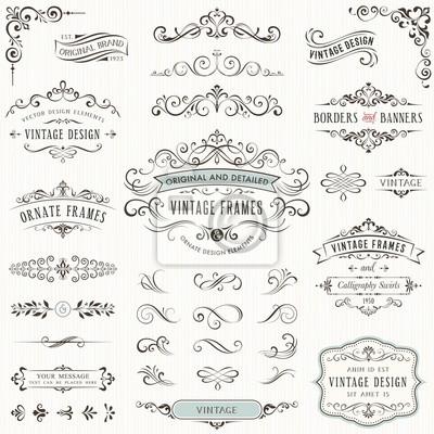 Poster Verzieren Vintage Design-Elemente mit Kalligraphie wirbelt, Swashes, aufwändige Motive und Schriftrollen. Rahmen und Banner.