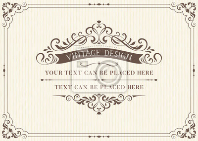 Poster Verzieren Weinlesekartenentwurf mit dekorativem blüht Rahmen. Gebrauch für Hochzeitseinladungen, königliche Bescheinigungen, Grußkarten, Menüs, Abdeckungen, Plakate, Broschüren und Flieger. Abbildung.
