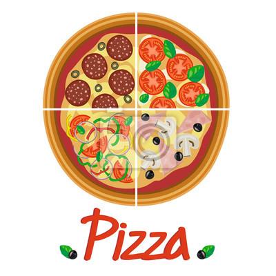 Poster Vier Arten von leckeren Pizza