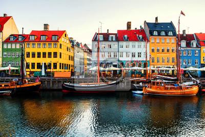 View of famous Nyhavn area in the center of Copenhagen, Denmark in the morning