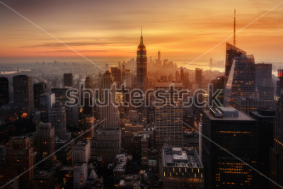 Poster View of New York City from the top of one of its viewpoints, capturing the warm light of sunset