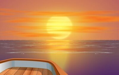 Poster view of sunset at the ocean on wooden boat