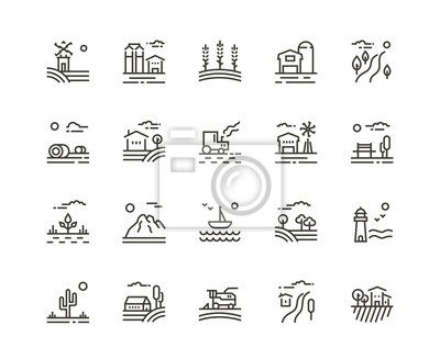 Poster Village line icons of agriculture landscapes. Set of farming field, farm buildings, harvester trucks, tractors, mountains, boat, garden and plantation. Vector illustration, rural