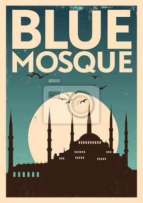Vintage Blue Mosque Poster