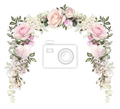 Vintage Card Aquarell Hochzeit Einladung Design Mit Rosa Rose