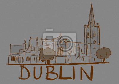 Vintage Dublin city sketch