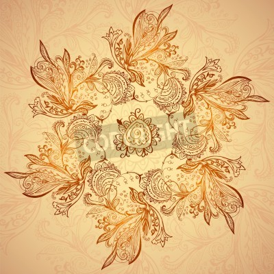 Poster Vintage ethnic vector ornament mandala background
