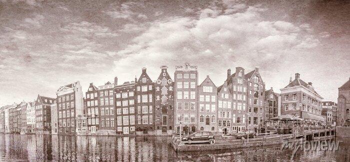Poster Vintage Foto von Amsterdam Gebäude
