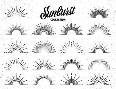 Poster Vintage grunge sunburst collection. Bursting sun rays. Fireworks. Logotype or lettering design element. Radial sunset beams. Vector illustration.