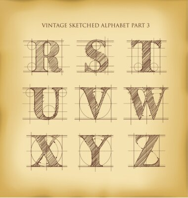 Poster Vintage Hand gezeichnet Alphabet