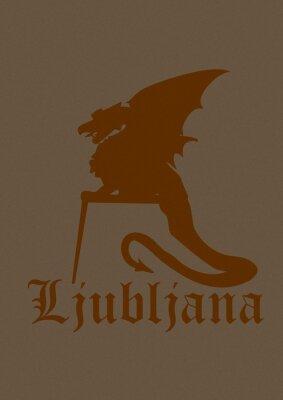 Vintage icon of Ljubljana city dragon