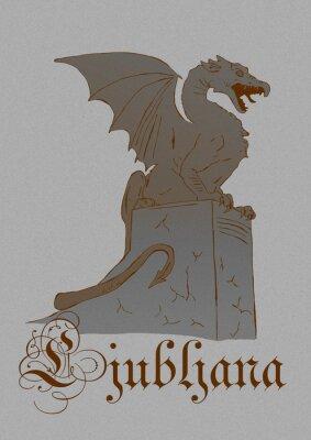 Vintage image of the dragon of Ljubljana city