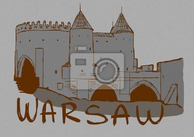 Vintage image of Warsaw walls
