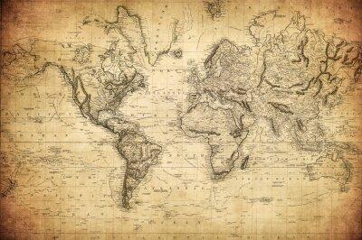 Poster Vintage Karte der Welt 1814 ..