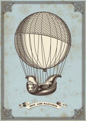 Poster Vintage-Karte mit Heißluftballon