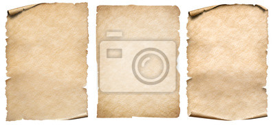 Poster Vintage paper or parchment set isolated on white