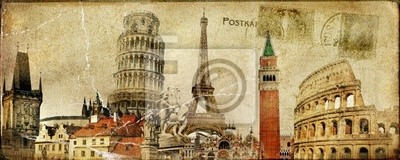 Vintage Postkarte - ruropean Urlaub